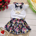Flower Outfits Summer Clothes Sets 2016 New 3pcs Baby Girls Clothes Toddlers Clothing Necklace + Tops + Skirts Patchwork