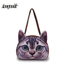 3D Frosted Women Cute Cat Printing Handbag Shoulder Animals Zipper Polyester Shopper Handbag Student  Girls Bookbag Casual Tote