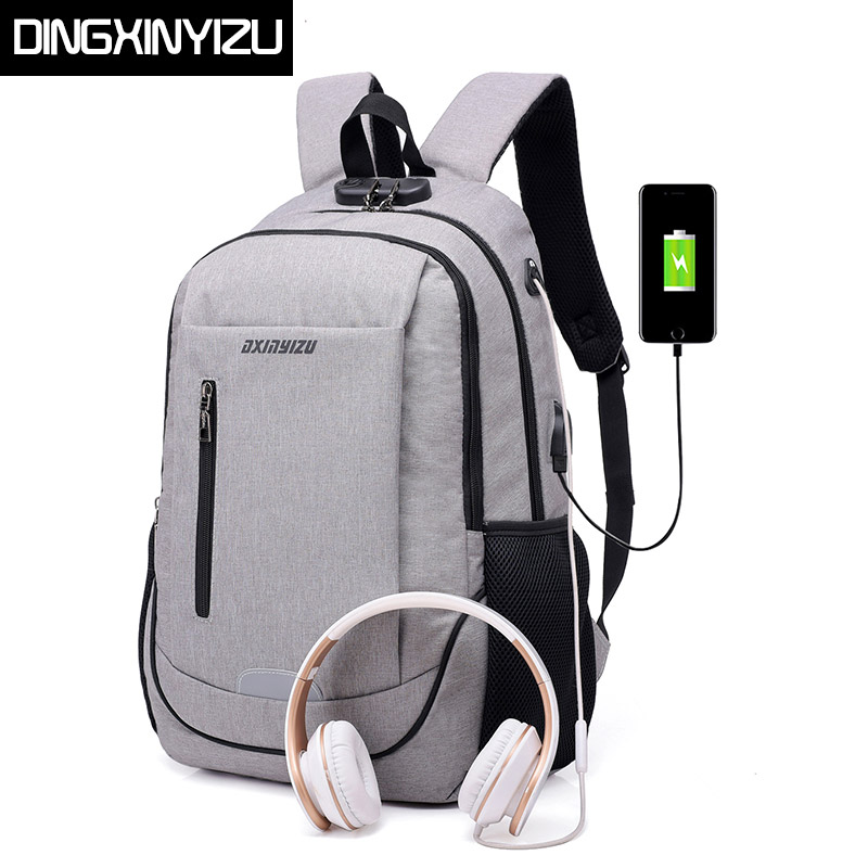 DINGXINYIZU Anti-theft 15.6 inch Laptop Backpack USB Charging Business Rucksack Waterproof School Bag Travel Casual Male Mochila anti theft 18 4 inch waterproof laptop backpack business travel student school bags with usb charging