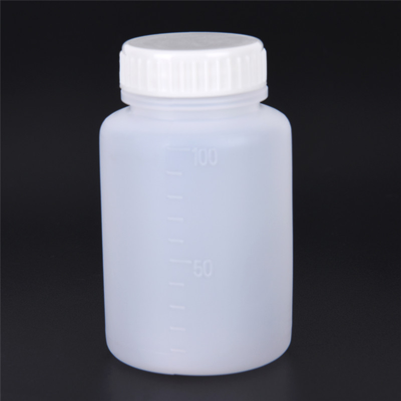 2 Pcs Cylinder Shaped 100ml Clear Plastic Chemical Storage Reagent Bottle