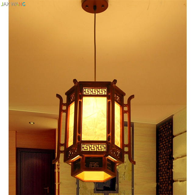 JW_Chinese Style Wood Carved Pendant Lights Painting Nostalgia Lamps For Living  Room Restaurant Corridor Lantern Lighting