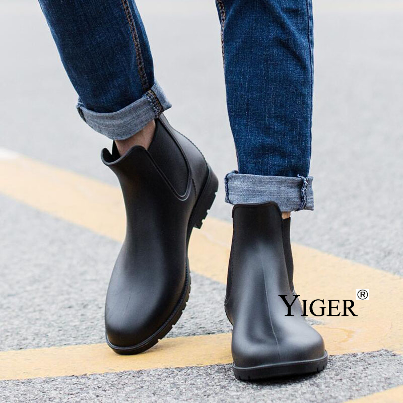Image 5 - YIGER Men Rain boots man Chelsea boots male Ankle boots men Casual Boots Men rubber rain shoes Waterproof Best selling style 015