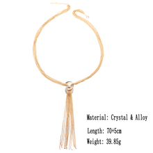Long Multilayer Gold Color Crystal Tassel Necklace