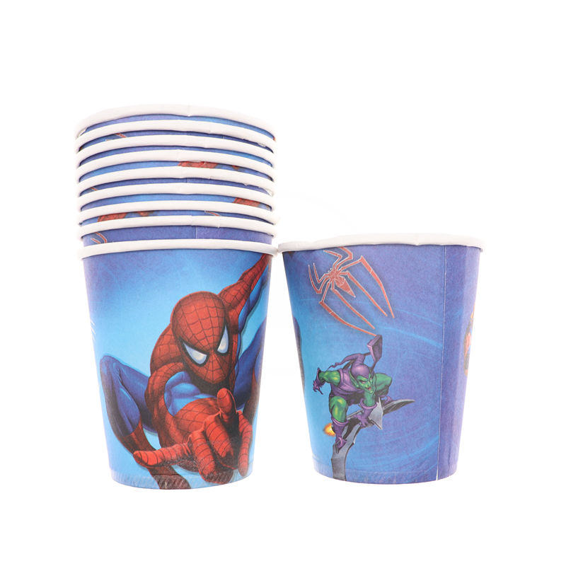 Spiderman 10pcs/set Cartoon Disposable Tableware Paper Cup