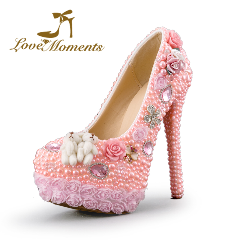 ФОТО Love Moments women shoes pink pearl handmade crystal wedding shoes bride platform high heels ladies elegant shoes for Dress