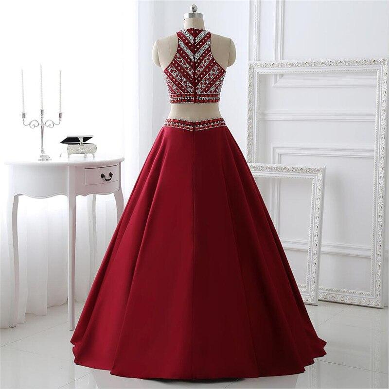 Rouge Tank 2019 nouveau élégant formel sexy mode cristal design deux pièces longue fête robe de soirée taille personnalisée 6-26 - 5