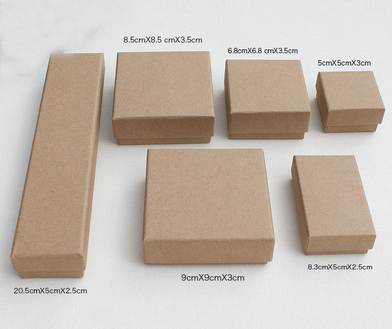 Box For Jewelry Free shipping wholesale 100pcs lot Kraft Paper Box Neckalce Pendant Ring Earring Packaging