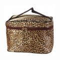 Portable Waterproof Multifunction Leopard PU Plaid Cosmetic Bag Makeup Bag Case Brown