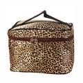 Portable Waterproof Multifunction Leopard PU Plaid Cosmetic Bag Makeup Bag Case Brown