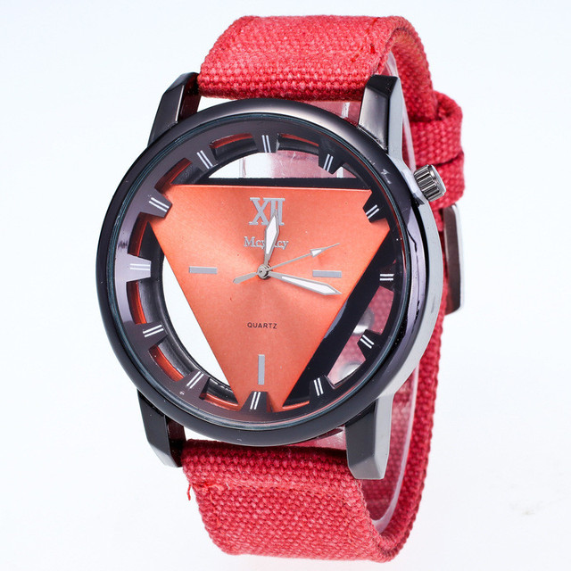 Mens Wristwatch Skeleton Watch Nylon Watch Band Casual Women Watches Analog Dial Display Stainless Steel Buckle Reloj Hombre
