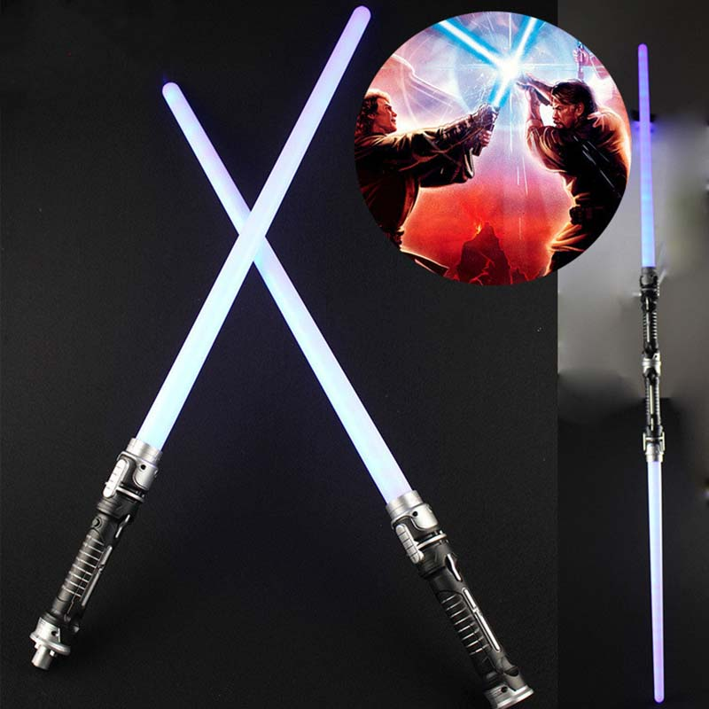 Drop Shipping 2 pcs/lot Star Wars Lightsaber Led Flashing Light Sword Toys Cosplay Weapons Sabers Gifts for boys 85cm star wars lightsaber kylo ren red cross lightsaber led light sword toys pvc cosplay weapons toys for boys christmas gift