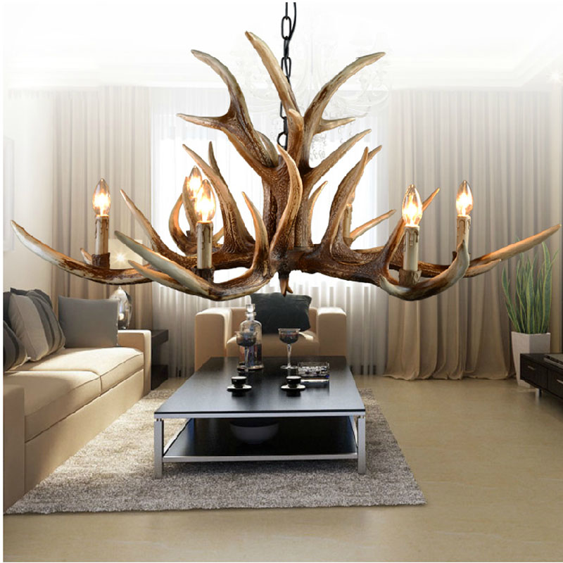 6/10 Heads Antlers vintage Style resin Pendant Lights with Lampshade Living room,Bar,Cafe, Dining room deer horn lamp Fixture