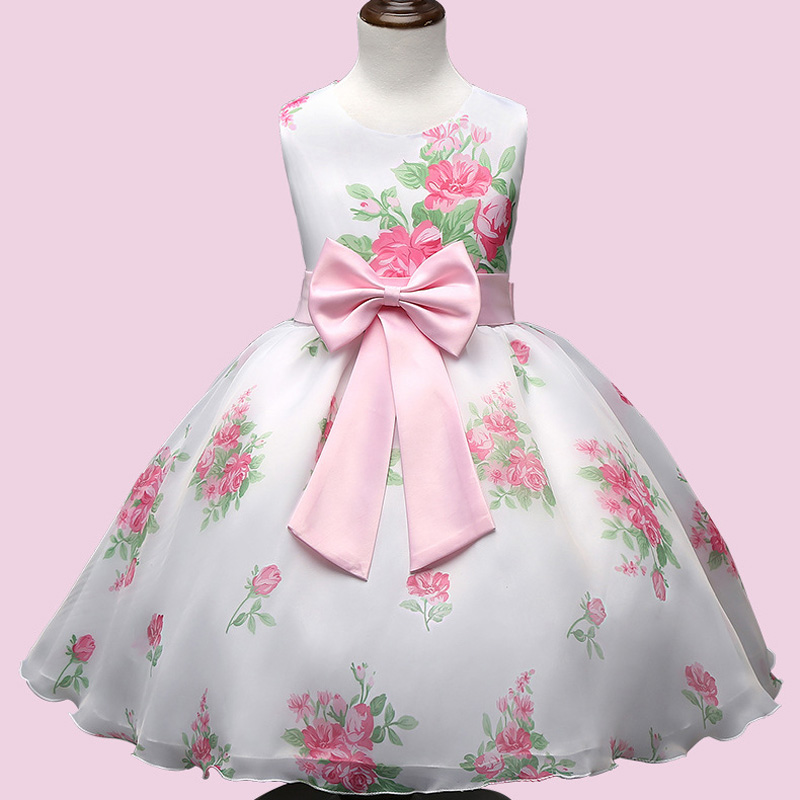 Fashion Summer formal dress baby girl clothes Floral ...