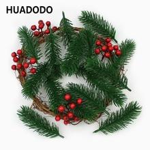 HUADODO 10 шт., искусственные сосновые иглы, искусственные растения, ветки, искусственные цветы для украшения рождественской елки, аксессуары для творчества