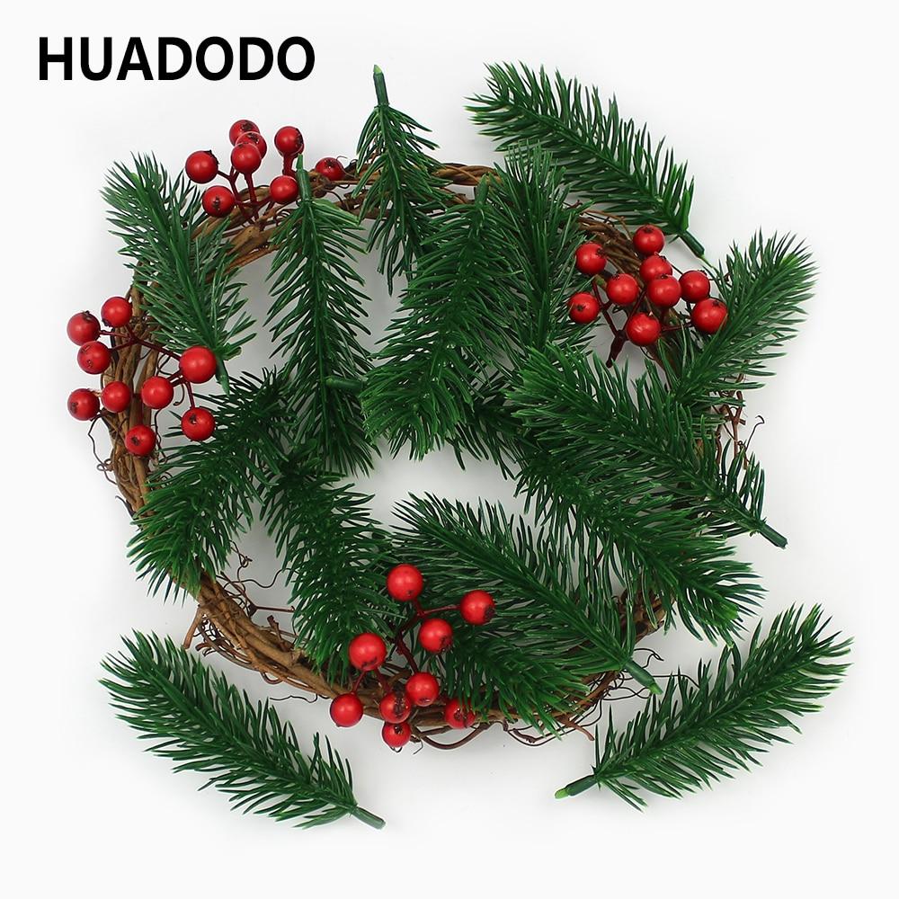 HUADODO 10 шт. искусственные сосновые иглы искусственные растения ветви искусственные цветы для рождественской елки украшения DIY аксессуары
