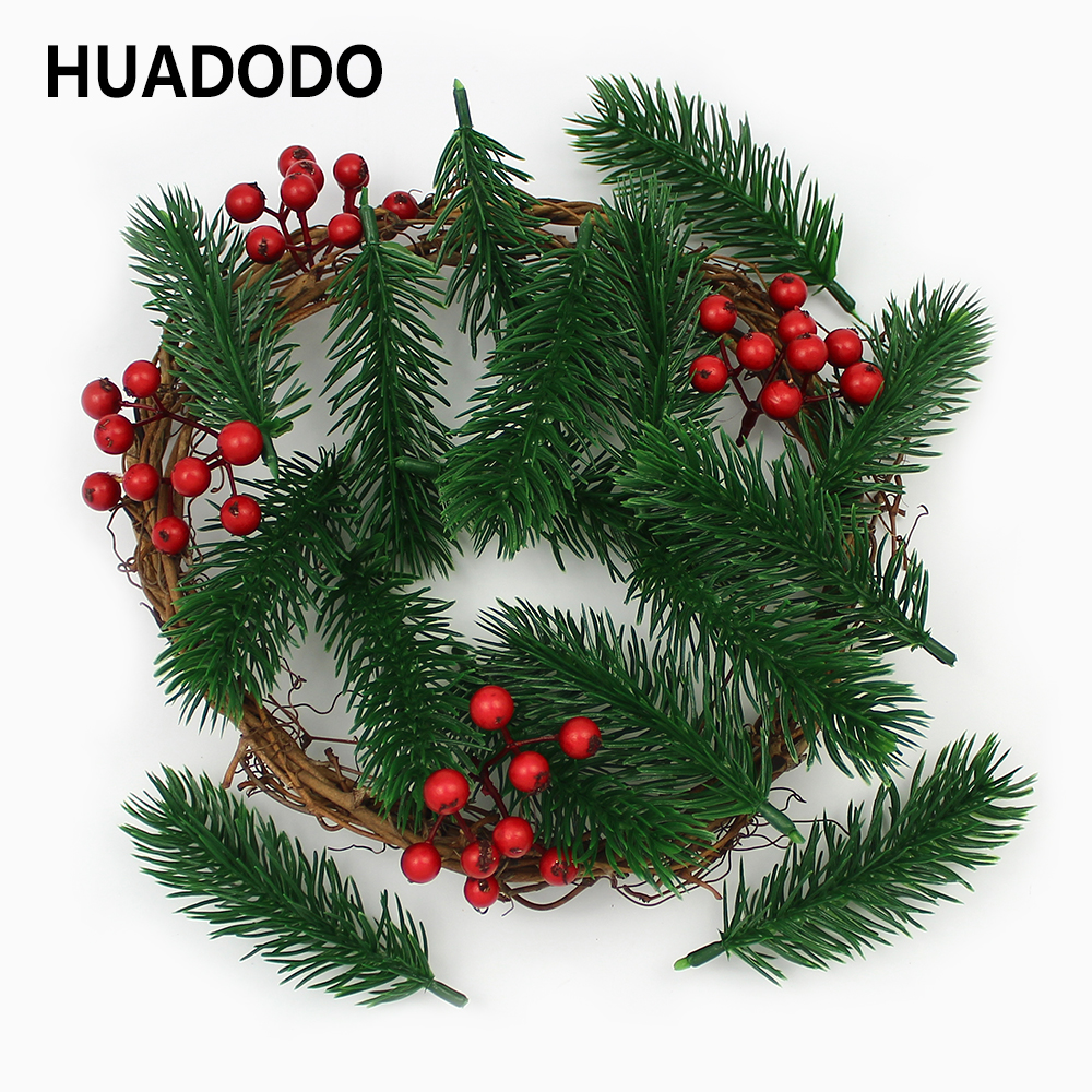 HUADODO 10pieces Artificial pine needles Fake Plants Branches Artificial flowers For Christmas Tree Decorations DIY Accessories(China)