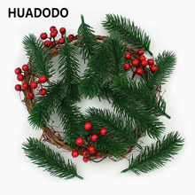 HUADODO 10pieces Artificial pine needles Fake Plants Branches Artificial flowers For Christmas Tree Decorations DIY Accessories