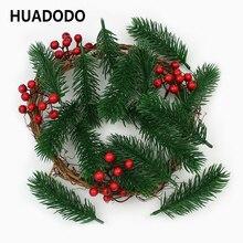 Huadodo agulhas artificiais de pinha, 10 peças, ramos de plantas falsas, flores artificiais para decoração de árvore de natal, acessórios diy
