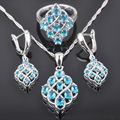 FAHOYO Newst Blue Stone Zirconia Women's 925 Sterling Silver Jewelry Sets Earrings/Pendant/Necklace/Rings Free Shipping QZ064