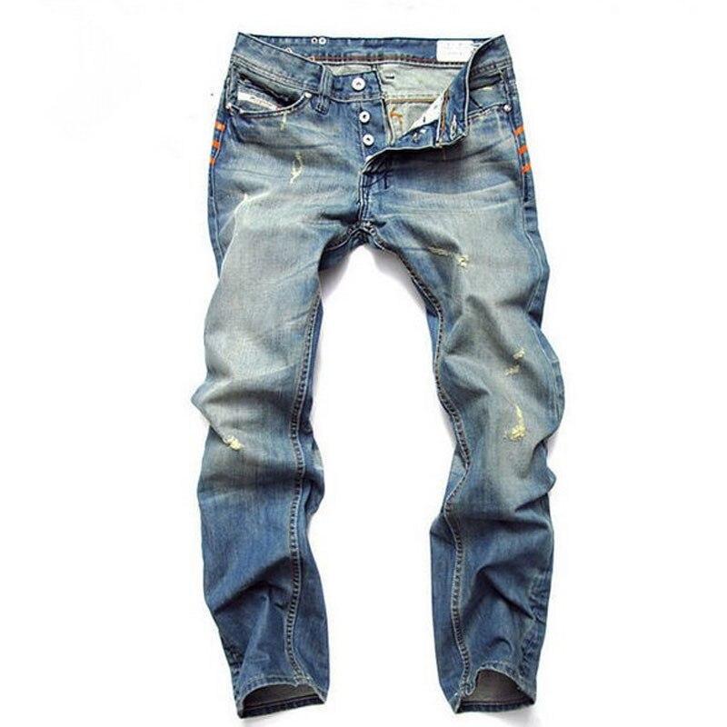 New Famous Brand Justin Bieber Jeans Men Casual Biker Jeans Men's Straight Denim Long Slim Pants Hip Pop Jeans Men Size 28-42 2017 fashion patch jeans men slim straight denim jeans ripped trousers new famous brand biker jeans logo mens zipper jeans 604