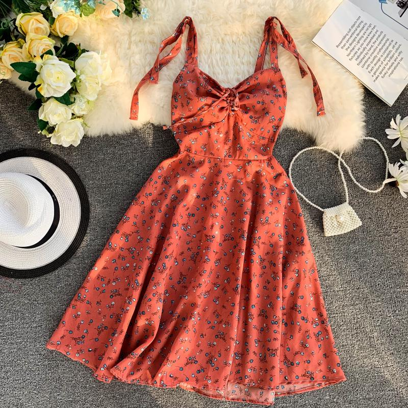 Strap V-Collar Flower Printing Drawstring High Waist A-Line Beach Dress 1