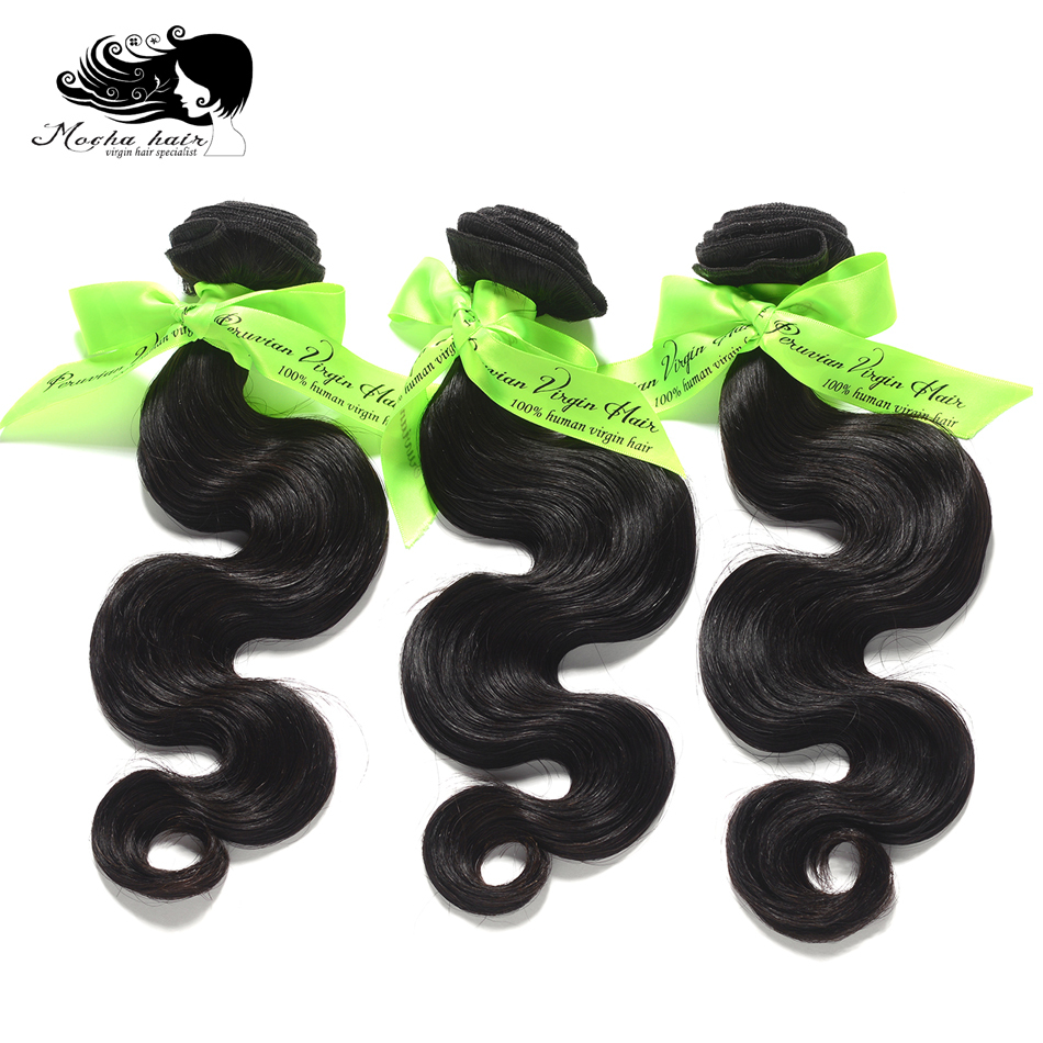 Human-Hair-Extension Virgin-Hair Mocha-Hair Body-Wave 3-Bundles Peruvian 10A Natural-Color