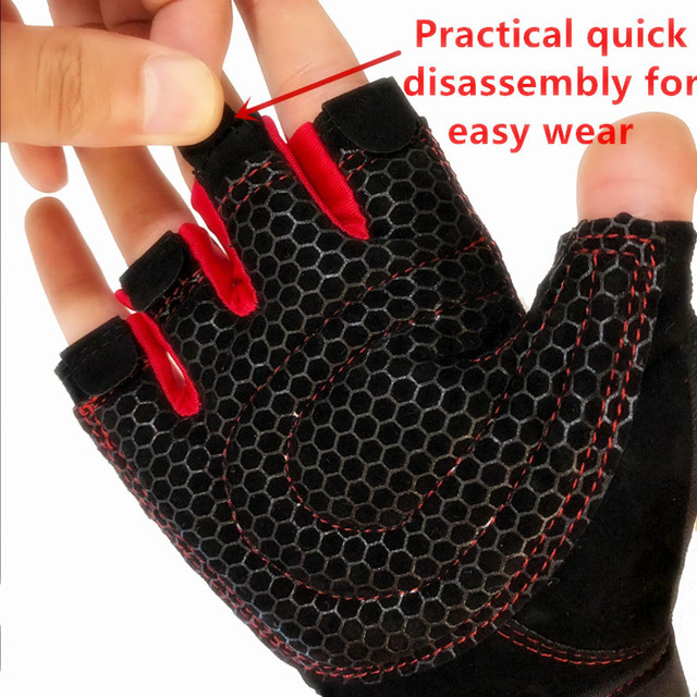 1 Pair Riding Gloves Sports Fitness Gloves Wrist Weightlifting Hand Half Finger Gloves Gym Training Bodybuilding Sports Gloves