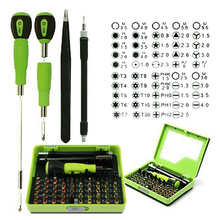 2016 53 unids Conjunto de Destornilladores de Precisión en Caja Para Teléfonos Celulares Portátiles Multi Tool Set Kit de Reparación de Herramientas de Mano de Acero
