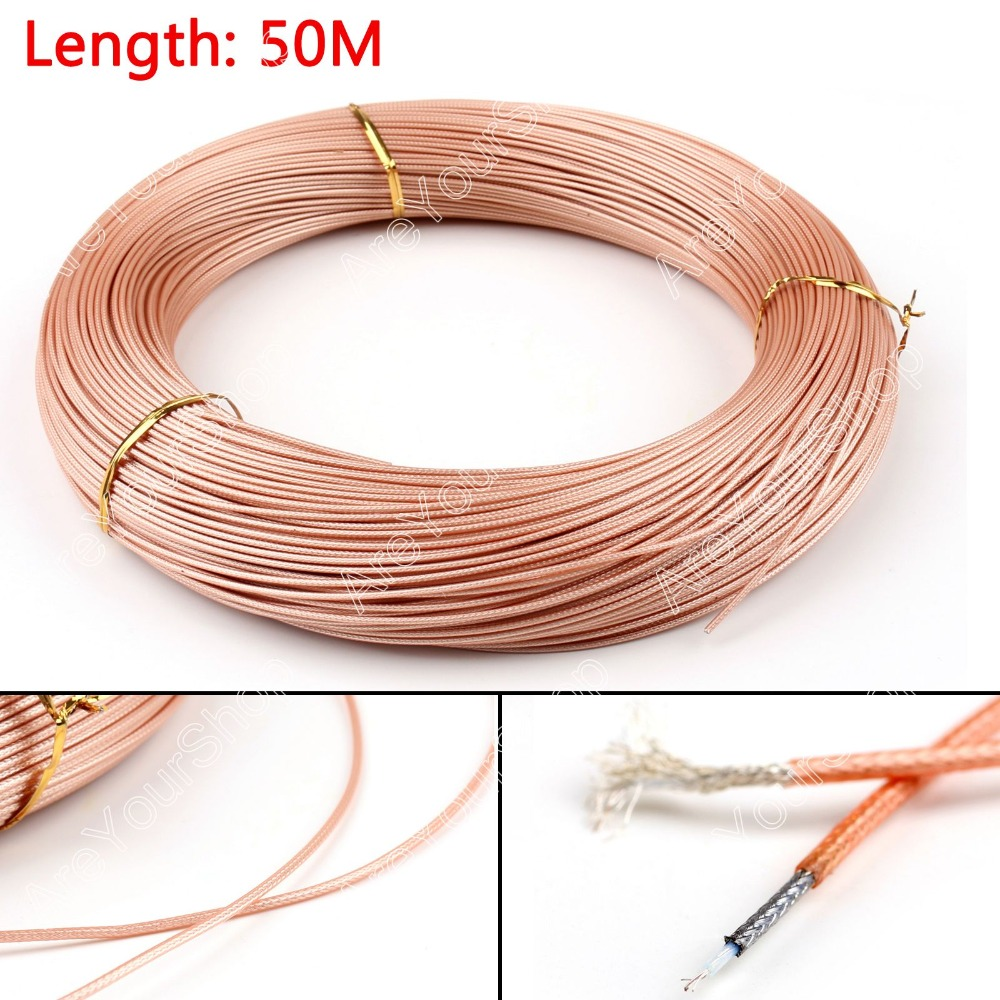 Areyourshop Sale 5000cm 50ohm M17/93 RG178 Coax Pigtail RG178 RF Coaxial Cable Connector 164ft Plug