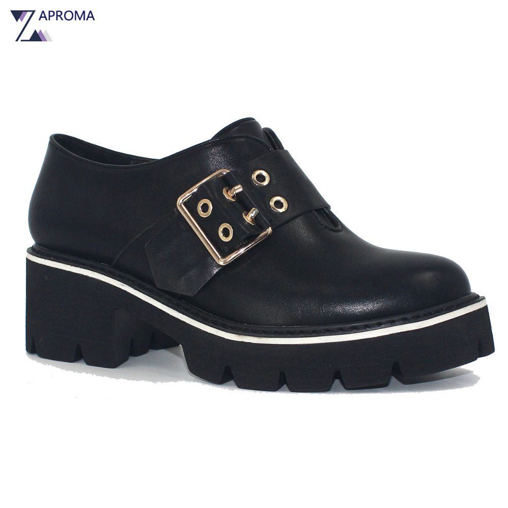Punk Shoes Buckles Women High Heel Black Slip On Pumps Wedges Metal Decoration Elevator Shoe Spring Autumn PU
