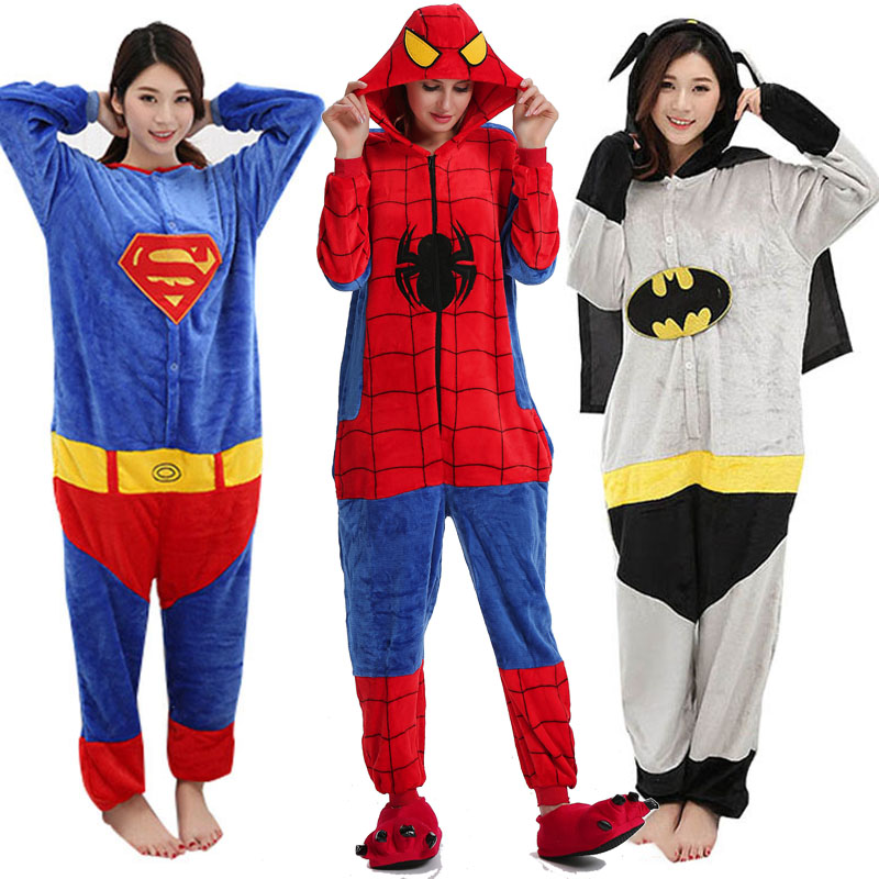 Pajamas 2019 Adult Onesies Women Men Couple Flannel Family  Superman Batman Spiderman Pijamas Jumpsuits Winter Pyjamas