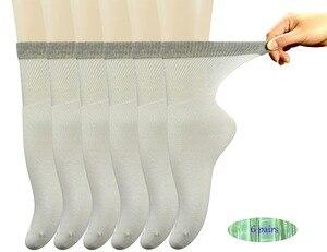 Image 5 - Chaussettes diabétiques en bambou pour femmes, avec bout sans couture, 6 paires, taille 9 11