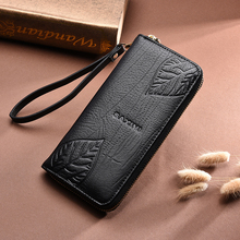 AOEO Wallet Female Embossing Leaves With Coin purses & holders Phone Bag Wristlet Girls Split Leather Purse Women Wallets Ladies aoeo wallet women genuine leather for phone pocket coin holder wristlet calfskin wallets female purse for girls ladies purses