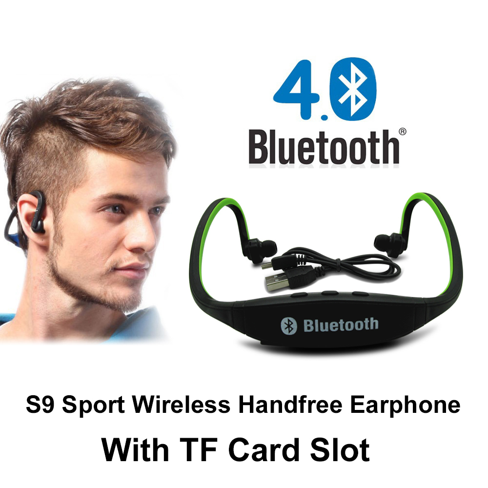 Original S9 Sport Wireless Bluetooth 4.0 Handfree Earphone Headset Headphones Support TF Card for iPhone 6/6S Samsung All Phones remax 2 in1 mini bluetooth 4 0 headphones usb car charger dock wireless car headset bluetooth earphone for iphone 7 6s android