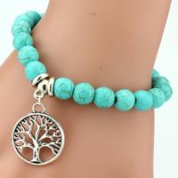 LUBINGSHINE Vintage Boho Charm   Bracelets     Bangles   Women Natural Stone Tree of Life Elephant Owl Pendant Bead   Bracelet   Men Jewelry