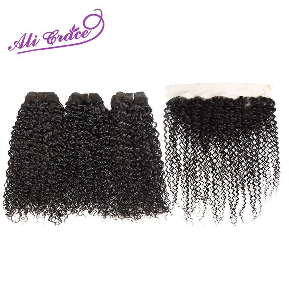 Ali Grace Hair Peruvian Kinky Curly With Closure 3 Bundles With 13 4 Free Part Middle