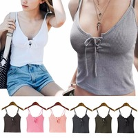 8 Colors Women Camis Front Cross Lacing Up Strappy Bustier Crop Top Tank Bralette Ropa New