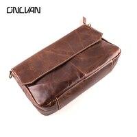 ONLVAN Для мужчин Курьерские сумки Пояса из натуральной кожи Мода 100% ручной работы Винтаж кожаная сумка Высокое качество карман с клапаном сум...