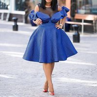 Sexy See Through Mesh Short Sleeve Midi Dress Female Summer Polka Dots Ruffle A Line Party Evening African Blue Dresses 2019