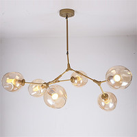 Nordic gold DNA molecule herringbone branch Pendant Light Bar Dining Room Bubble Glass Shade Retro Lamp Fixtures