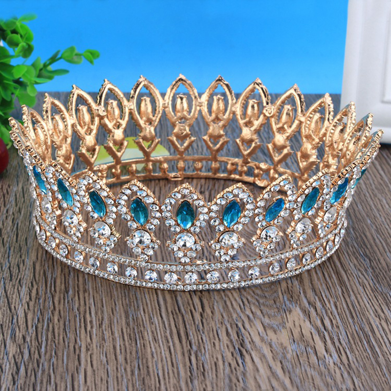 Blue Crystal Gold Color Round Big Tiara Crown Rhinestone Bride Wedding Crown Headbands Bridal Hair Jewelry Accessories Headwear girl crown crystal barrettes hair accessories shiny rhinestone crystal crown bridal wedding tiara flower child hair ornament
