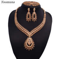 Nigerian jewelry set for women african beads silver/gold bridal crystal jewelry sets Wholesale for wedding necklace jewellery