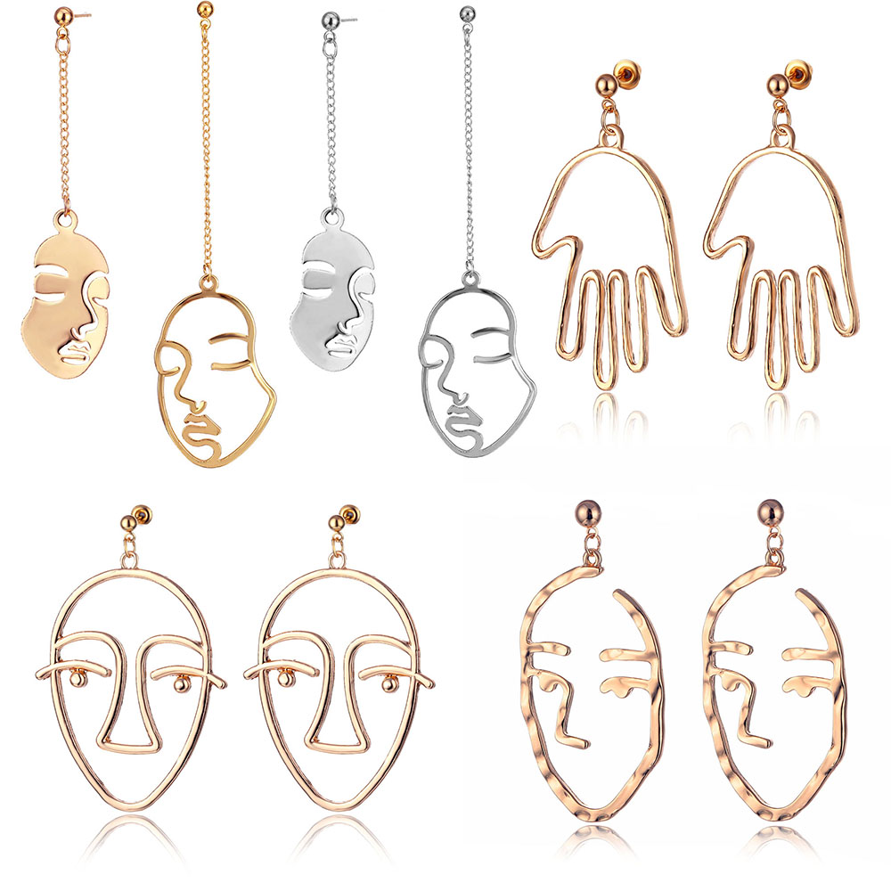 IPARAM 2020 New Arrival Abstract Stylish Hollow Out Face Dangle Earrings Girls Statement Drop Earrings Statement Earrings