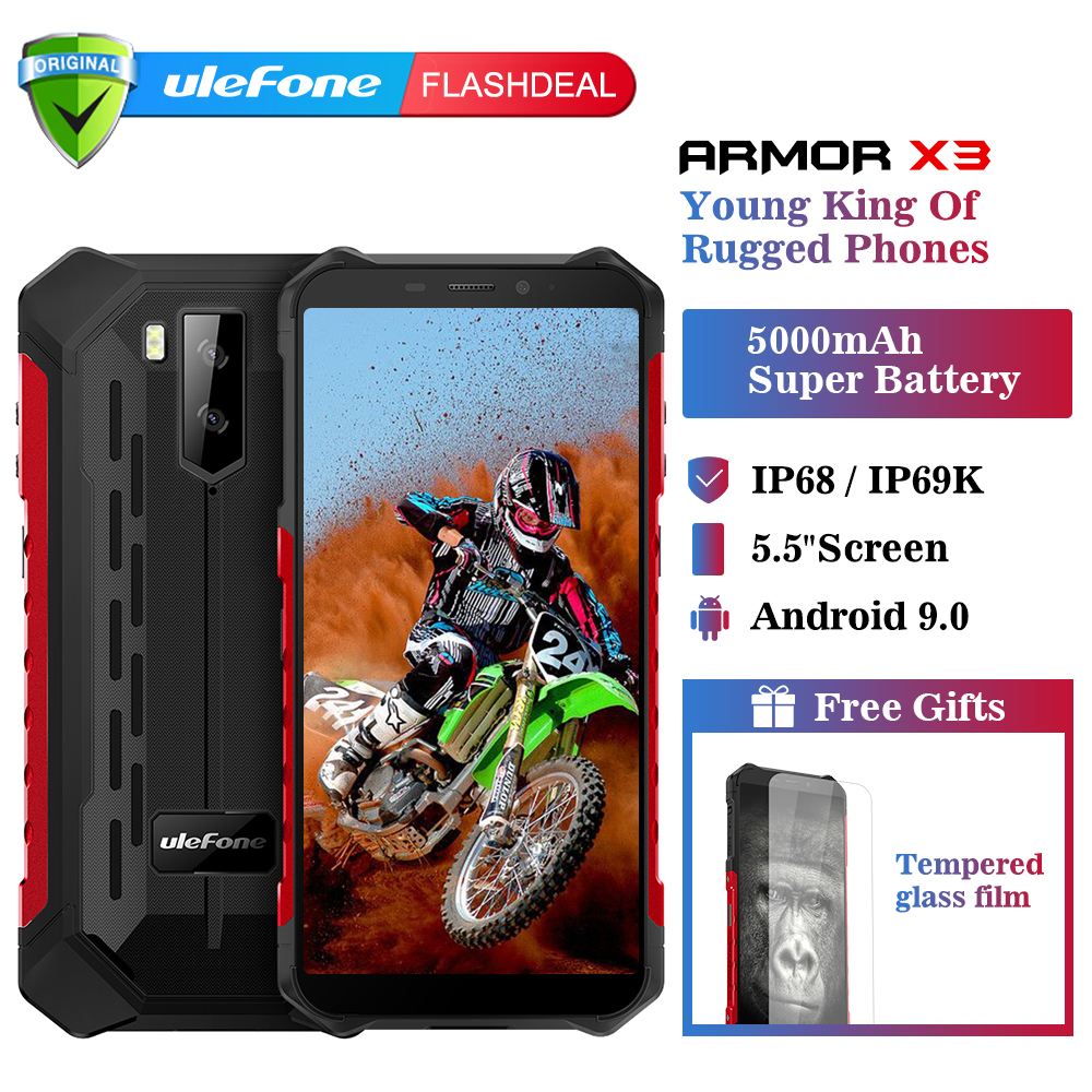 Ulefone Armor X3 Rugged phones IP68/IP69K Waterproof 5.5 inch 2GB 32GB 8MP 5000mAh face ID Android 9.0 3G Dual SIM Smartphone
