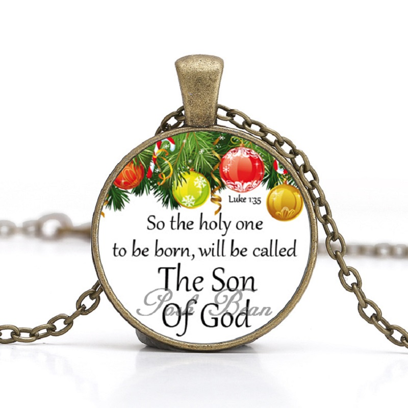 Jesus Christmas Quote.Us 2 09 Bible Verses Necklace Religious Christmas Jesus Glass Cabochon Christian Quote Jewelry For Women Party Favors Gifts For Kids 1pc In Pendant