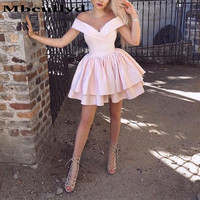 Mbcullyd Pink Cocktail Dresses A line V neck Short Mini Off Shoulder Party Gowns Cheap Plus Size Homecoming Dresses Custom Made