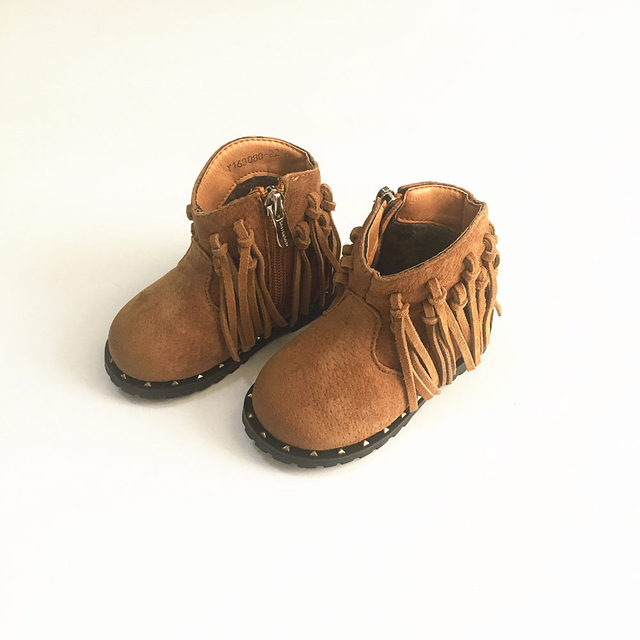 a0805c760097 Suede Girls Boots Fringe non-slip Real leather Kids Chelsea boots shoes  Fashion baby girl shoes 2-6T size 21-30