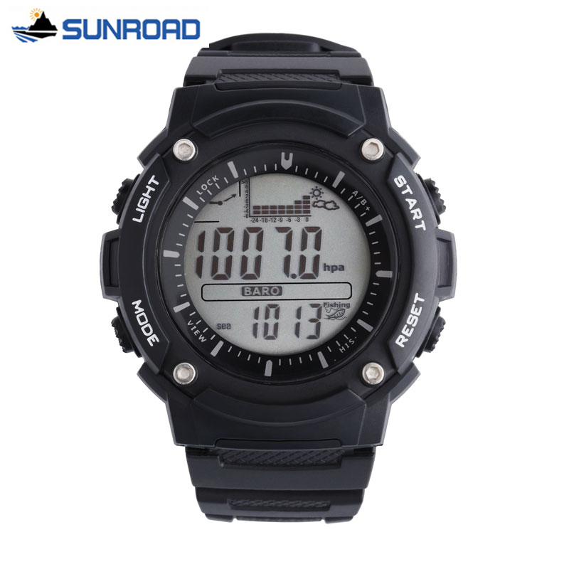 Sunroad Men Digital Watches Outdoor Watch Clock Fishing Weather Altimeter Barometer Thermometer Altitude Climbing Hiking Hours 8 in 1 digital lcd compass altimeter barometer thermo temperature clock calendar for outdoor hiking fishing