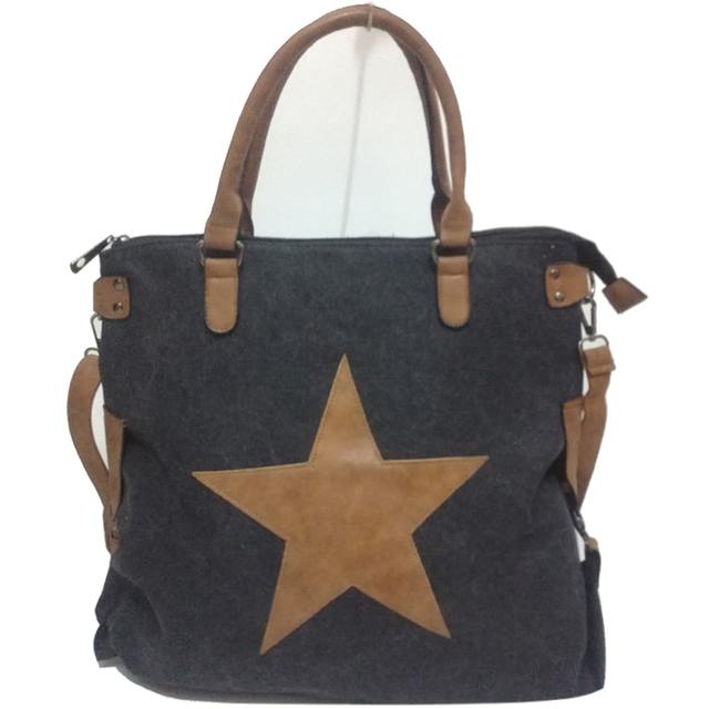 Vintage Star Canvas Tote Handbag Women Beach Travel Shoulder Bag Factory Outlet Multifunctional Sac