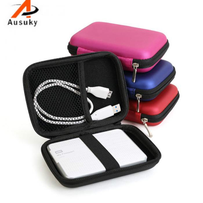 A Ausuky Case Cover For Cable Pouch 2.5 inch Power Bank USB External HDD Hard Disk Drive Protect Protector Bag 25